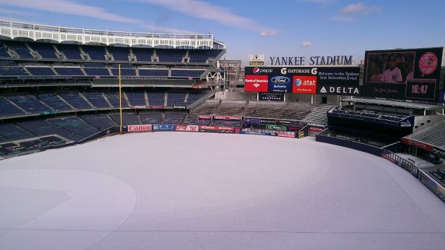 Yankee Stadium drenched in snow....