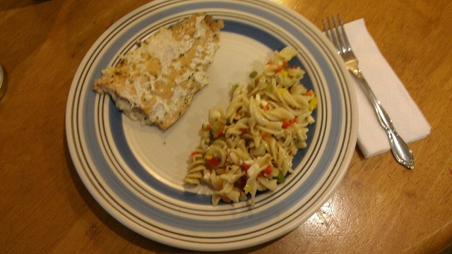 Not the best photo but it displays one of the fillets alongside an awesome pasta salad a friend of mine made